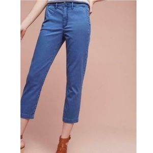 Anthropologie Slim Fit Sapphire Blue Cropped Chino